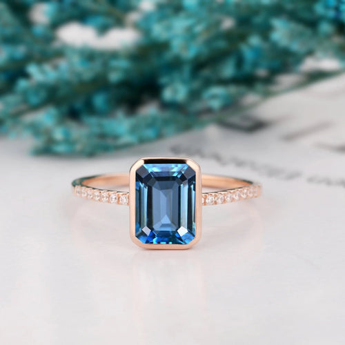 Unique Anniversary Ring, 6x8mm Emerald Cut Natural London Blue Topaz Wedding Ring