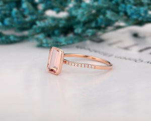 Rose Gold Eternity Ring, 6x8mm Emerald Cut Morganite Engagement Ring
