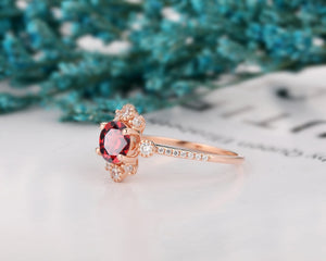 Handmade Engagement Ring, 6.5mm Round Cut Natural Red Garnet Ring