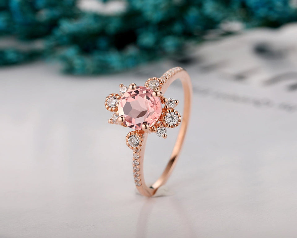 Handmade Christmas Gift, 1.0CT Round Cut Natural Morganite Engagement Ring