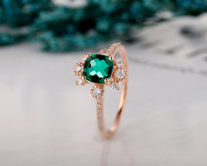 Brilliant Cushion Cut Lab Created Emerald Ring, Personalized Wedding Ring