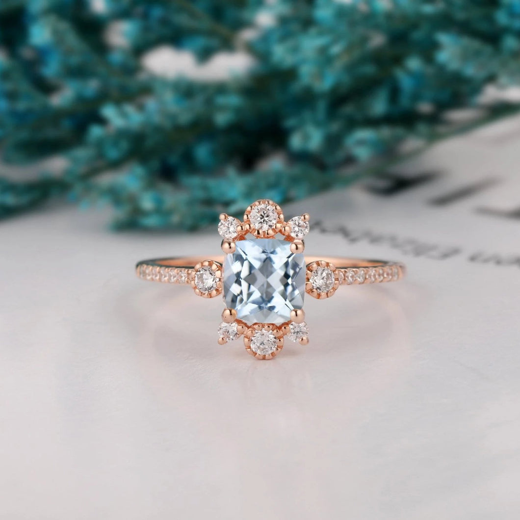 Handmade Wedding Ring, 1.1CT Cushion Cut Natural Aquamarine Ring