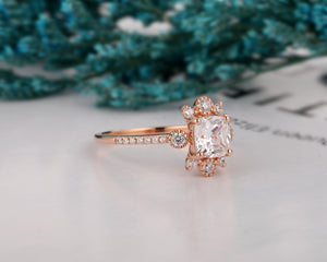 Handmade Fine Jewelry, 1.1CT Cushion Cut Moissanite Engagement Ring