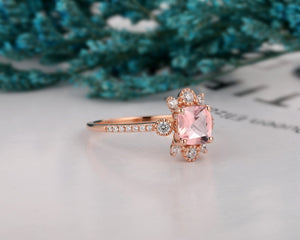 Brilliant Moissanite Accents Ring, 1.1CT Cushion Cut Natural Morganite Wedding Ring