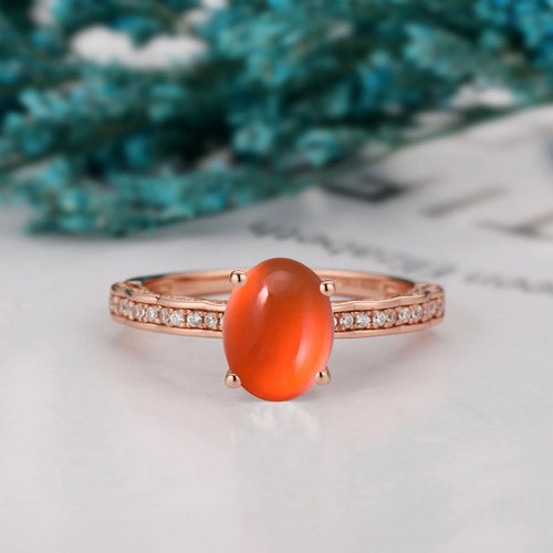 Art Deco Engagement Ring, 6x8mm Oval Shape Natural Mexican Fire Opal Ring