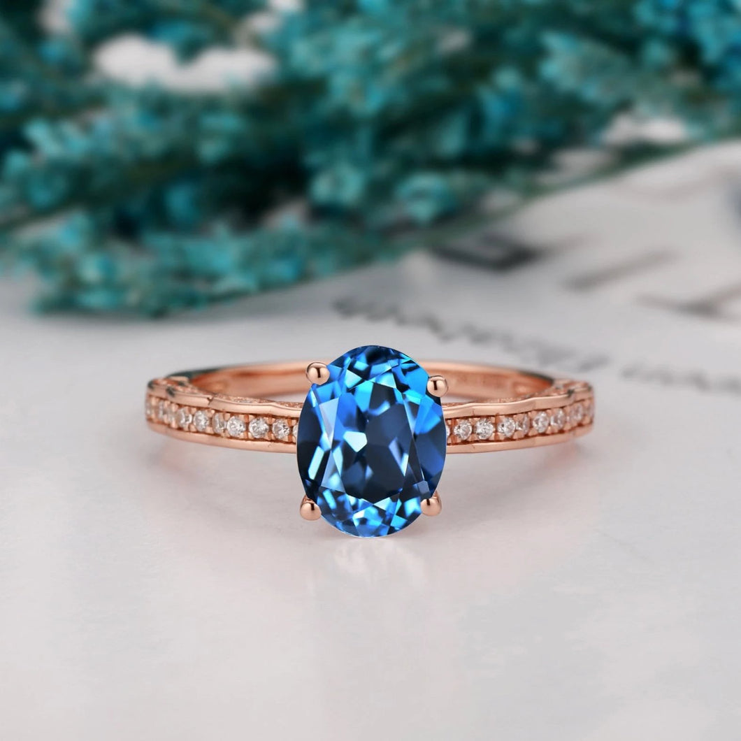 Solid Gold Half eternity Ring, 1.5CT Oval Cut Natural London Blue Topaz Wedding Ring