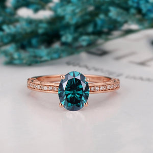 Half Eternity 4-Prongs Set Ring, 1.5CT Oval Cut Blue Moissanite Wedding Ring