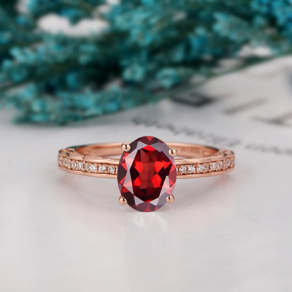 Art Deco Birthstone Ring, 6x8mm Oval Cut Natural Red Garnet Wedding Ring