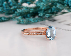 Birthday Gift, 1.5CT Oval Cut Natural Aquamarine Wedding Ring, 14k Gold Prong Set Ring