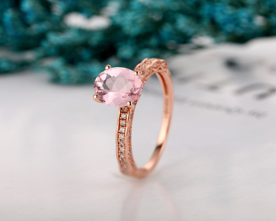 Solid 14k Gold Wedding Ring, 1.5CT Oval Cut Morganite Ring, Prong Setting Ring
