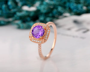 Vintage Style Gemstone Ring, 7x7mm Round Cut Natural Amethyst Ring