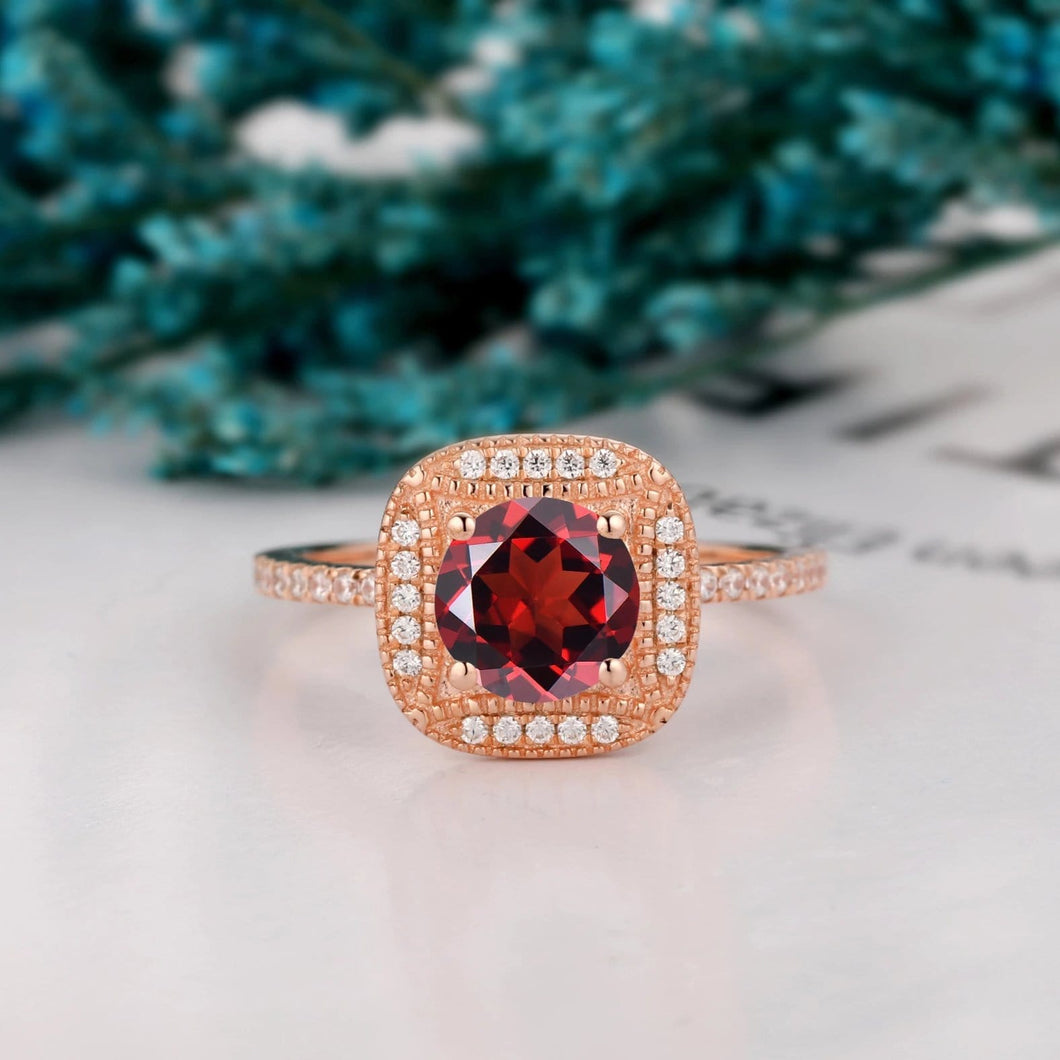 Unique Halo Ring, 1.25CT Round Cut Natural Red Garnet Wedding Ring