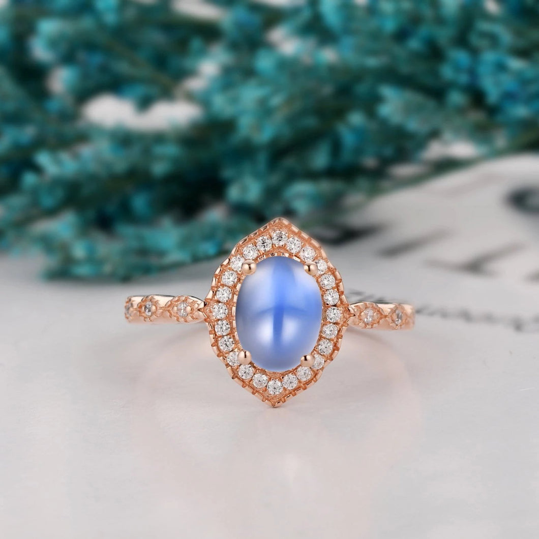 1.5CT Oval Shape Natural Rainbow Moonstone Ring, Halo Engagement Ring