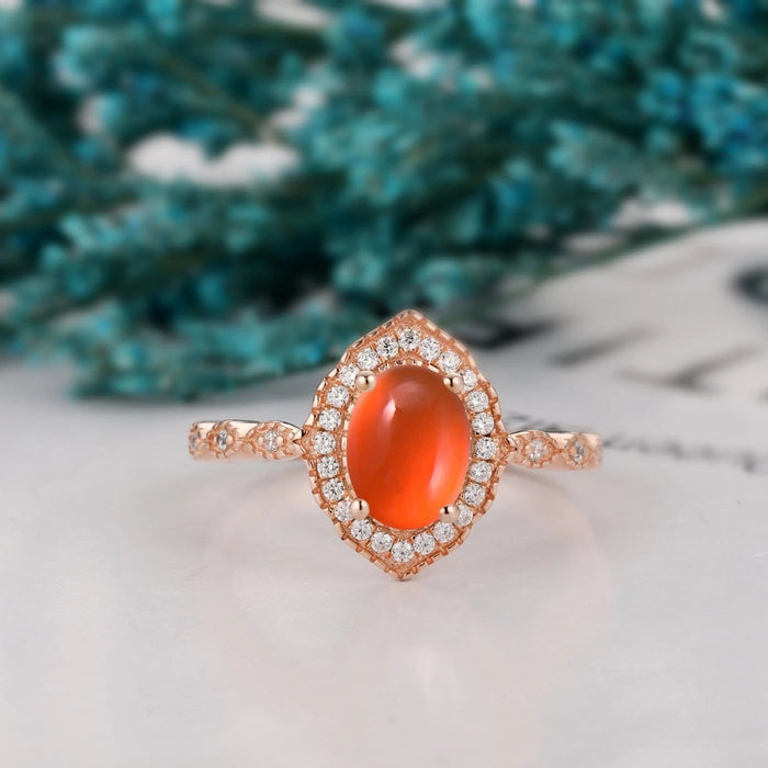 Half Eternity Halo Wedding Ring, 6x8mm Oval Natural Mexican Fire Opal Ring