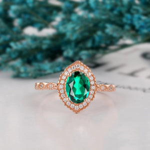 Delicate Wedding Ring, 1.5CT Oval Cut Lab Created Emerald Ring