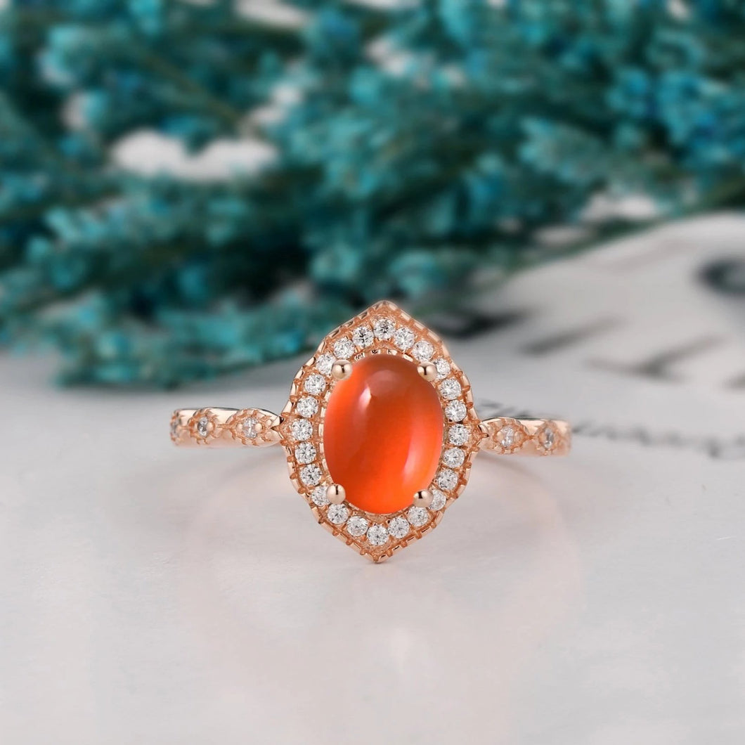 Vintage Halo Oval Cut 6x8mm Mexican Fire Opal Engagement Ring