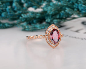 Natural Gemstone Ring, 1.5CT Oval Cut Red Garnet Engagement Ring