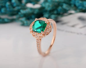 Floral Halo Anniversary Ring, 7x7mm Cushion Cut Lab Created Emerald Ring