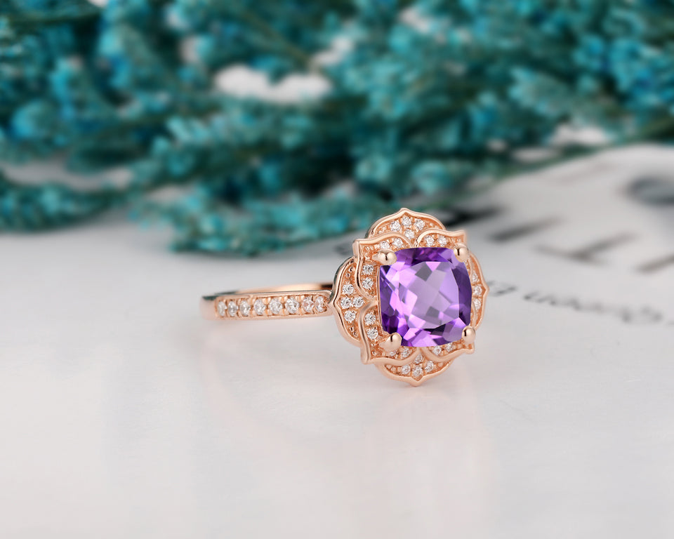 Purple Stone Wedding Ring, 1.7CT Cushion Cut Natural Amethyst Floral Halo Ring