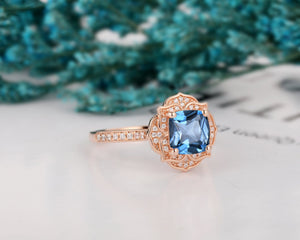 Floral Halo Wedding Ring, 1.7CT Cushion Cut Natural London Blue Topaz Promise Ring