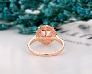 Floral Halo Promise Ring, 1.7CT Cushion Cut Morganite Engagement Ring