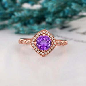 Halo Moissanite Wedding Ring, Antique 1.0CT Round Cut Natural Amethyst Gemstone Ring