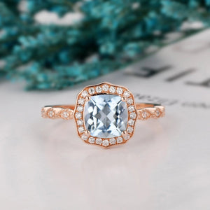 Prong Set Halo Ring, 1.7CT Cushion Cut Natural Aquamarine Wedding Ring