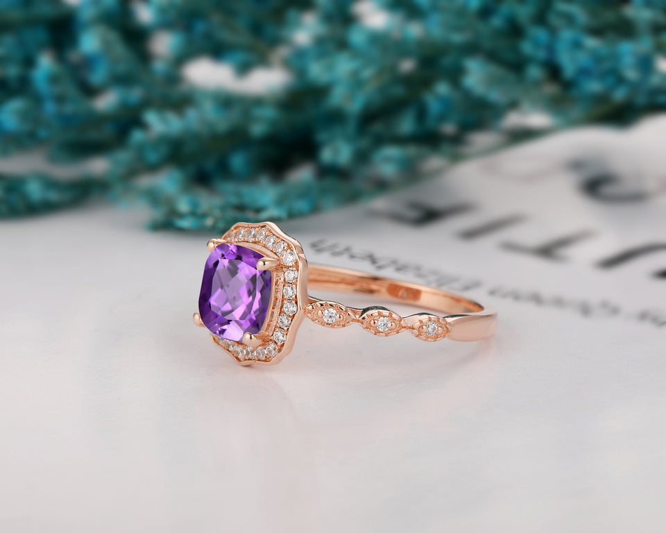 Handmade Accents Anniversary Ring, 1.7CT Cushion Cut Natural Amethyst Ring