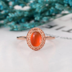 Solitaire Wedding Ring, 6x8mm Oval Shape Natural Mexican Fire Opal Ring