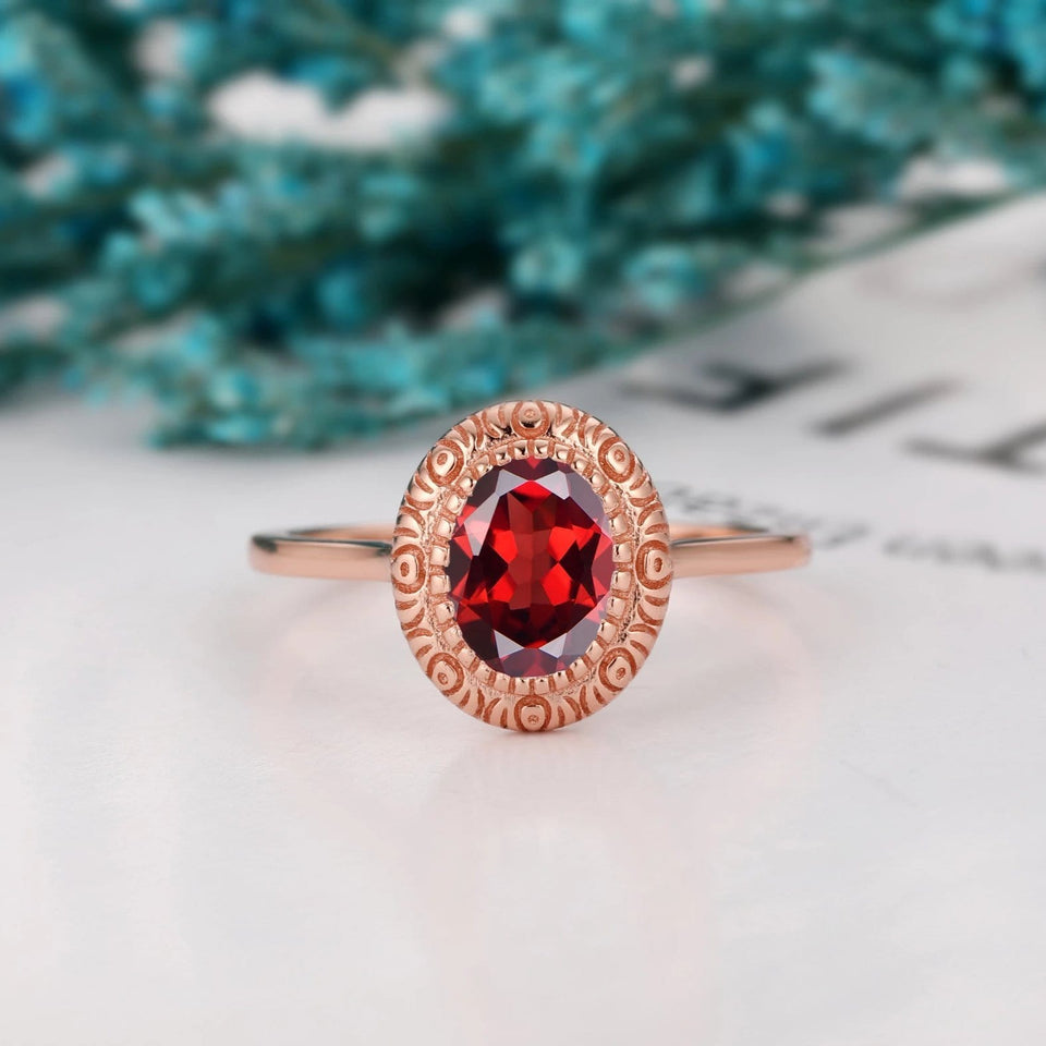Filigree Solitaire Ring, 1.5CT Oval Cut Natural Red Garnet Anniversary Ring
