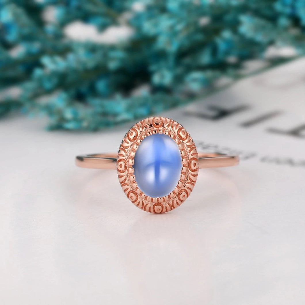 1.5CT Oval Shape Natural Rainbow Moonstone Ring, Personalized Wedding Ring