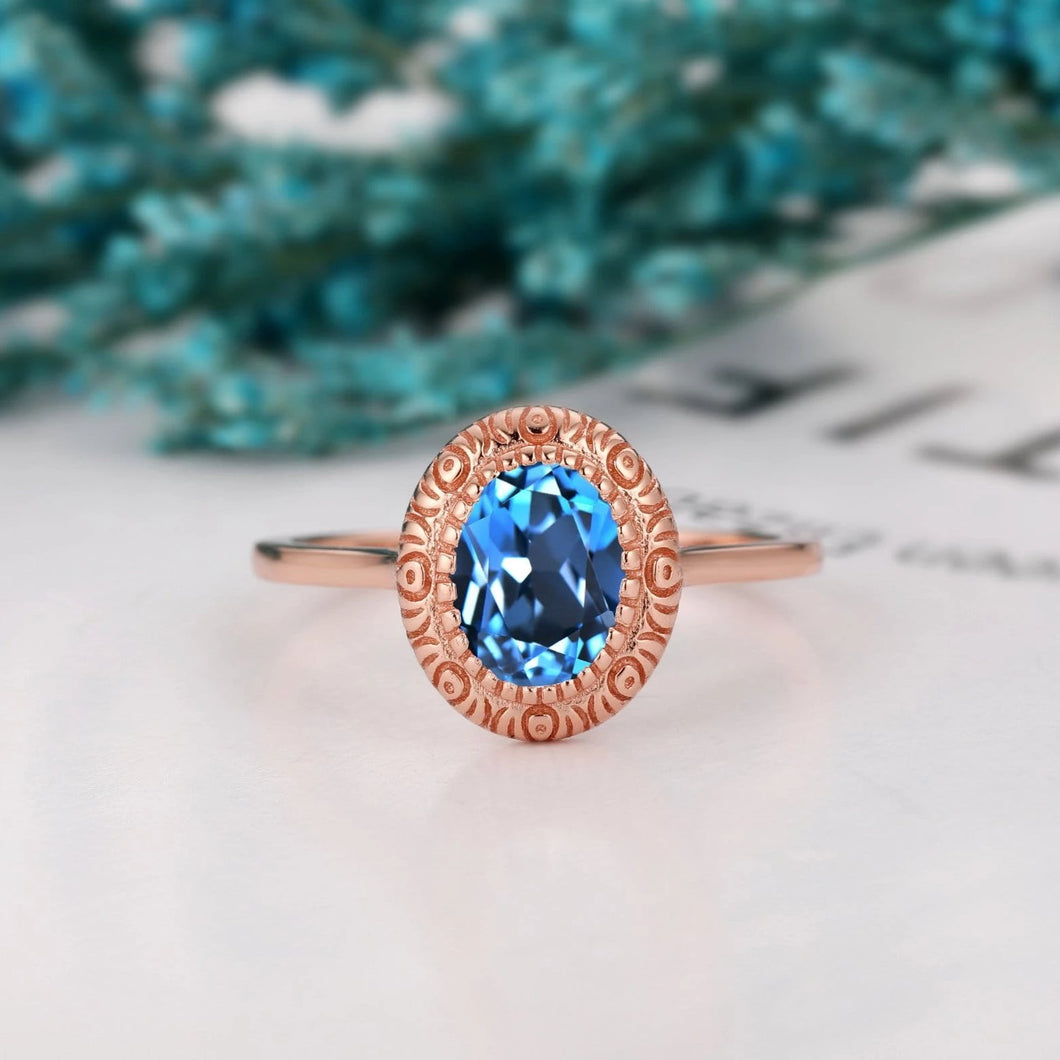 Handcrafted Jewelry, 1.5CT Oval Cut Natural London Blue Topaz Engagement Ring
