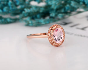 Handcrafted Antique Jewelry, 1.5CT Oval Cut Morganite Wedding Ring