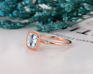 Vintage Style Ring, 1.7CT Cushion Cut Natural Aquamarine Engagement Ring