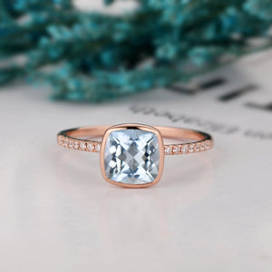 Vintage Wedding Anniversary Ring, 1.7CT Cushion Cut Natural Aquamarine Ring