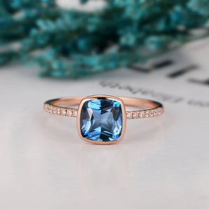 Bezel Set Wedding Ring, 1.7CT Cushion Cut Natural London Blue Topaz Ring