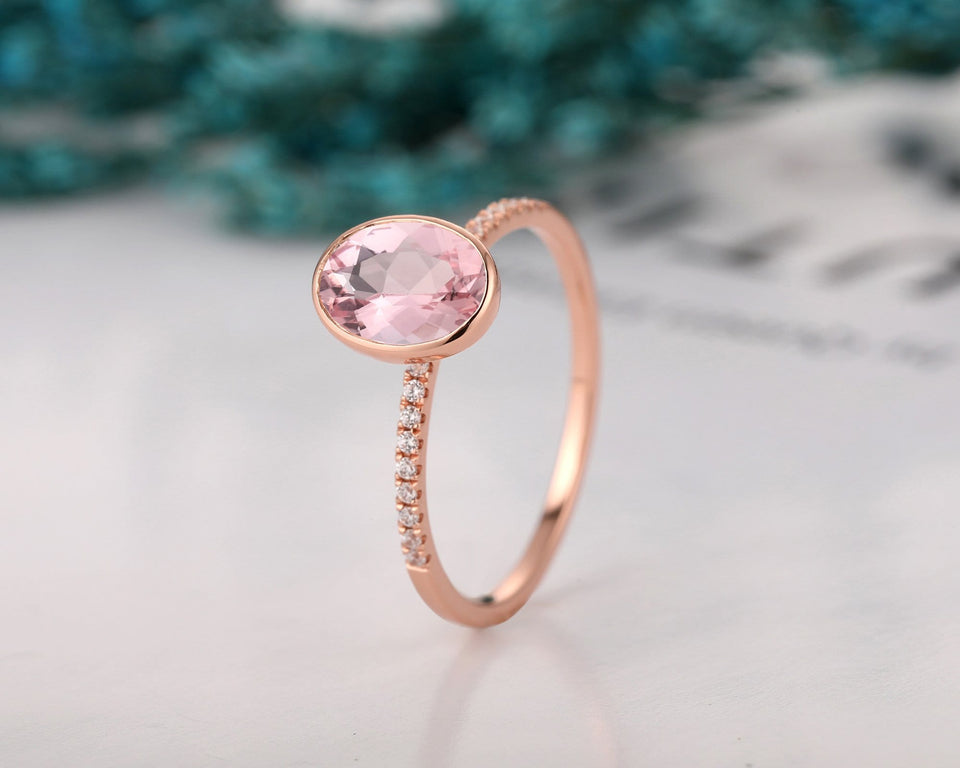 Bezel Set Promise Anniversary Ring, 1.5CT Oval Cut Natural Morganite Ring
