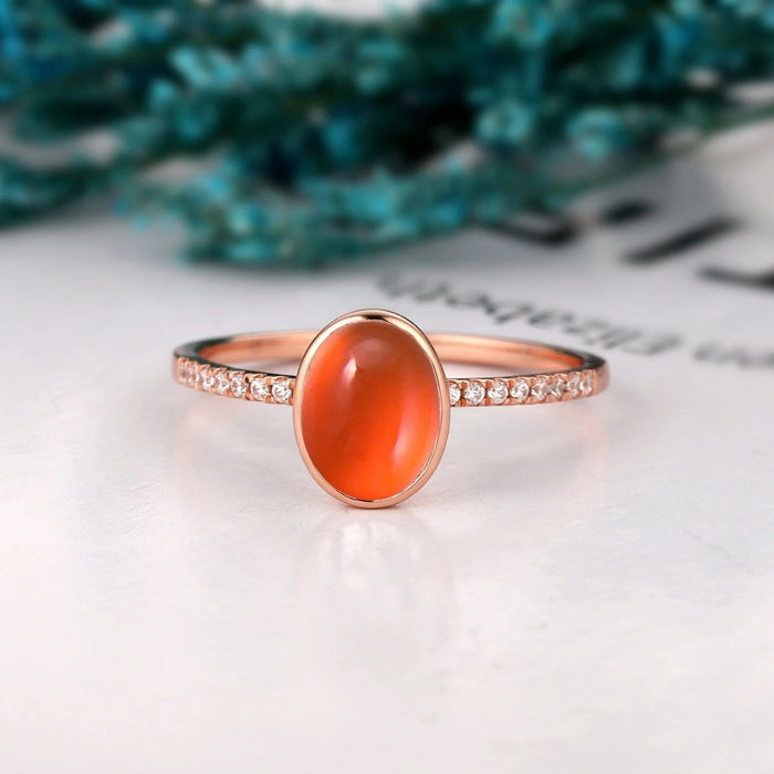 Bezel Set Engagement Ring, 6x8mm Oval Natural Mexican Fire Opal Ring