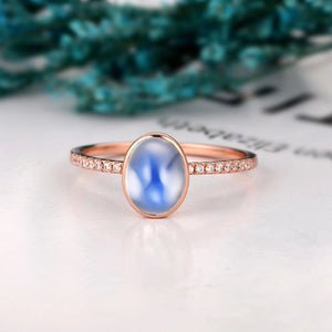 1.5CT Oval Shape Natural Rainbow Moonstone Wedding Ring, Perfect Birthday Gift
