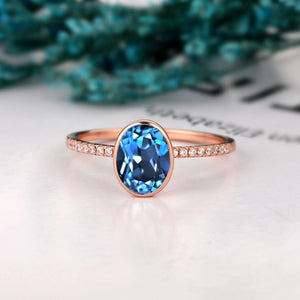 Gifts For Lover, 1.5CT Oval Cut Natural London Blue Topaz Ring, Engagement Ring