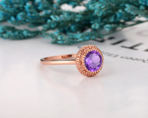 Gifts For Lover, Art Deco 1.25CT Round Cut Natural Amethyst Engagement Ring