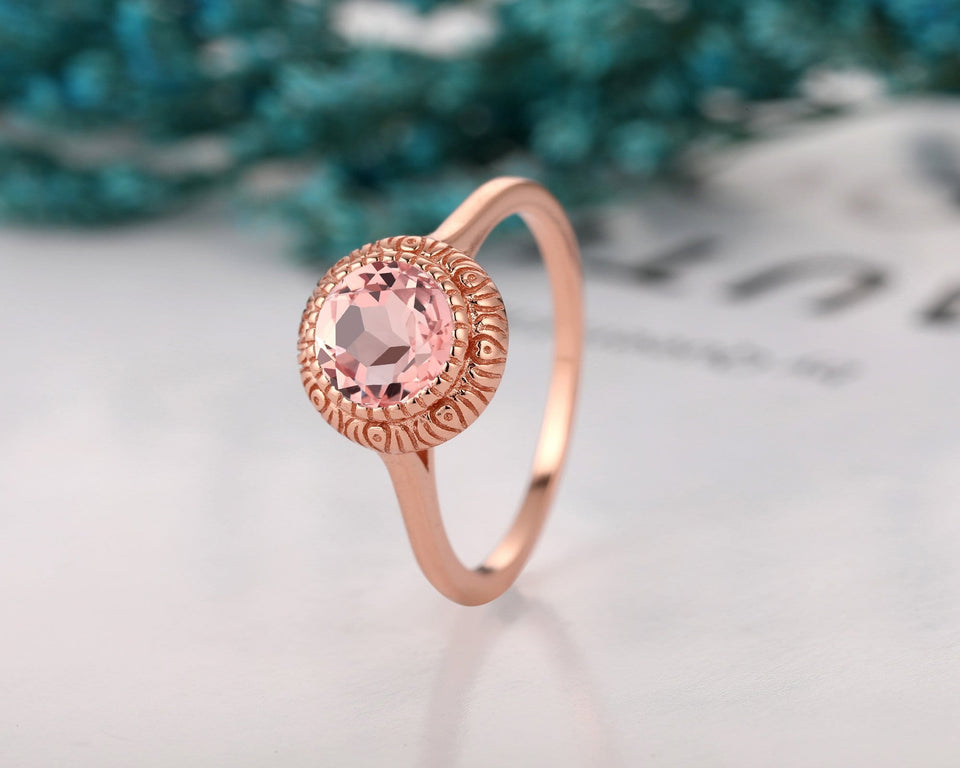 Rose Gold Classic Style Ring, 1.25CT Round Cut Morganite Wedding Ring