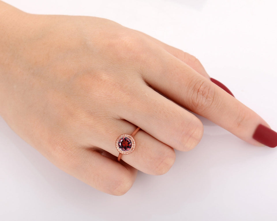 Christmas Gift, 7mm Round Cut Natural Red Garnet Engagement Ring