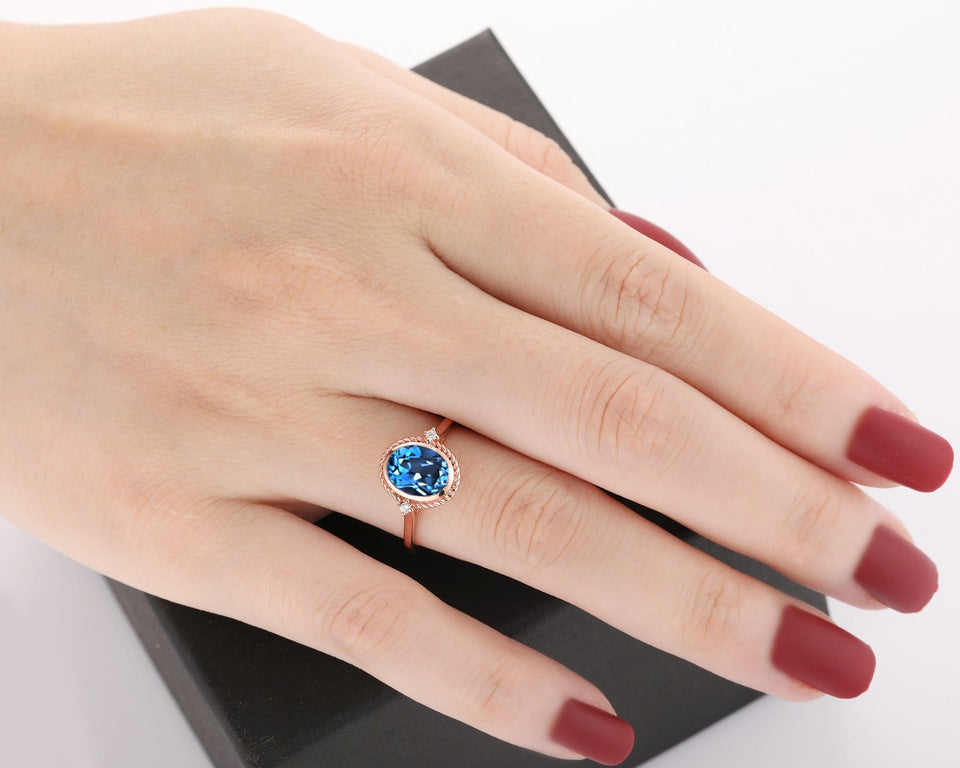 Brilliant Moissanite Accents Ring, 2.1CT Oval Cut Natural London Blue Topaz Ring