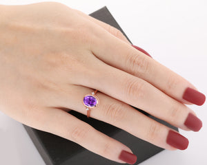 Birthstone Wedding Ring, 2.1CT Oval Cut Natural Amethyst Promise Ring