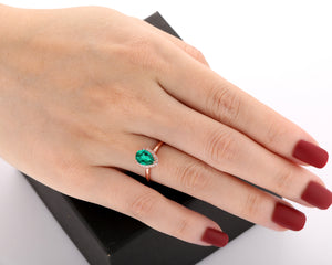 Art Deco Halo Moissanite Ring, 1.5CT Pear Cut Lab Created Emerald Ring