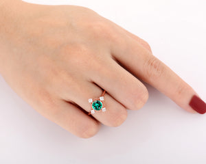 Milgrain Promise Ring, Excellent 1.0CT Round Cut Lab Created Emerald Wedding Ring