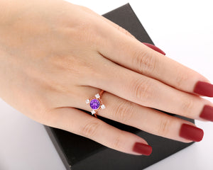 Bezel Set Anniversary Ring, Excellent 1.0CT Round Cut Natural Amethyst Ring