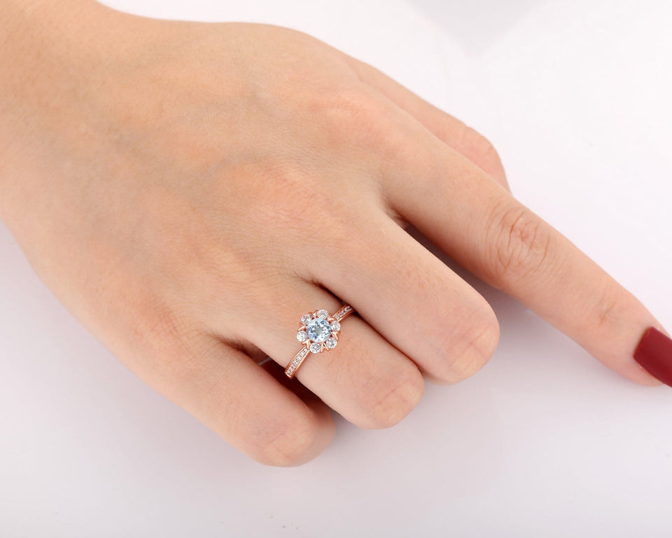 Classic Wedding Ring, 0.5CT Round Cut Natural Aquamarine Ring, Gifts For Lover