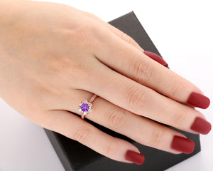 Handmade Antique Fine Jewelry, 0.5CT Round Cut Natural Amethyst Ring